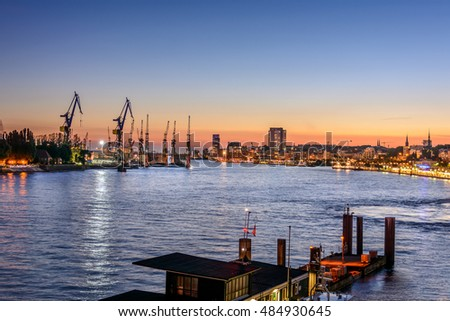 Cityscape of Hamburg with a view to City and seaport, Germany
