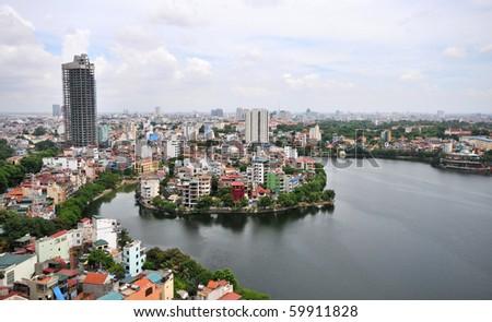 Cityscape of Hanoi city in Vietnam - stock photo