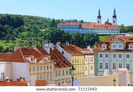 Cityscape of historical Prague center, eastern Europe. - stock photo