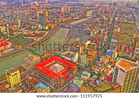 Cityscape of Ho Chi Minh City, Ho Chi Minh City, Vietnam - stock photo