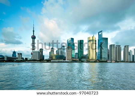 cityscape of huangpu river in shanghai,China - stock photo