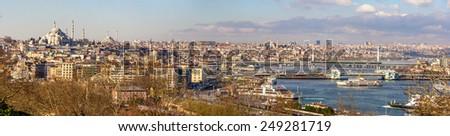Cityscape of Istanbul from the Topkapi Palace - Turkey - stock photo