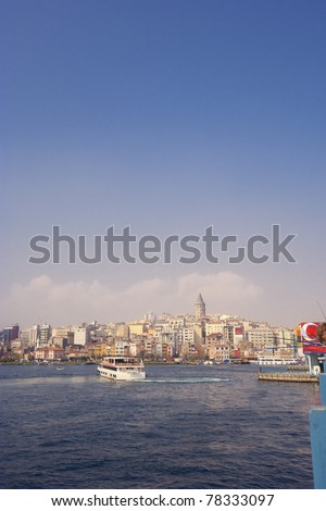 Cityscape of Istanbul, Turkey - View from Galata Bridge to Old Town around Galata Tower