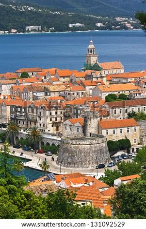 cityscape of Korcula, Croatia. - stock photo