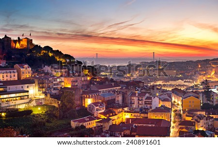 Cityscape of Lisbon in the beautiful sunset. Porugal  - stock photo