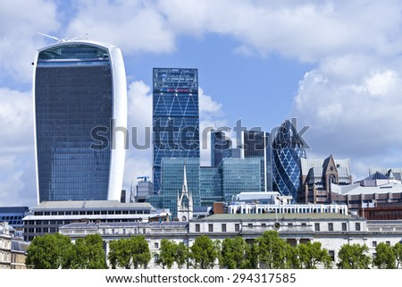 Cityscape of London United Kingdom banking and insurance district - stock photo