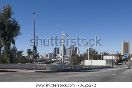 Cityscape of Los Angeles downtown with clear blue sky, California - stock photo