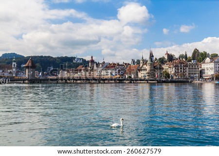 Cityscape of Lucerne old town, with the famous chapel bridge and historical buildings - stock photo
