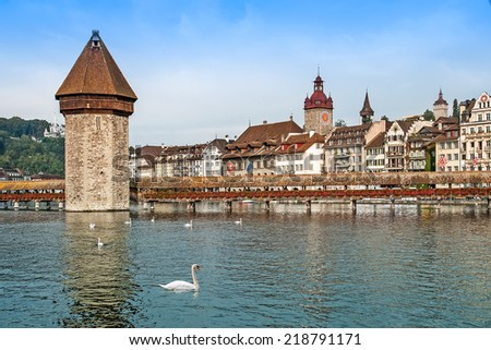 Cityscape of Lucerne with Chapel bridge and embankment, Switzerland - stock photo