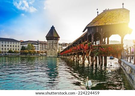 Cityscape of Lucerne with Chapel bridge, Switzerland - stock photo