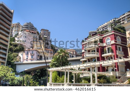 Cityscape of Monte Carlo in Monaco with the harbour and the sea in the background