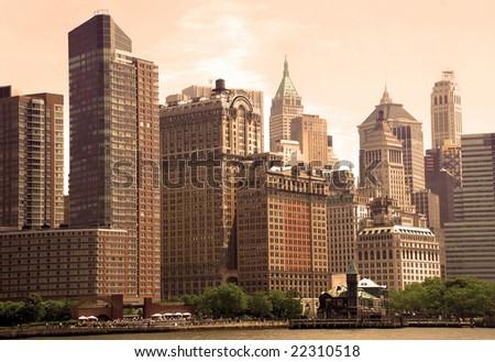 cityscape of New York City in sepia - stock photo