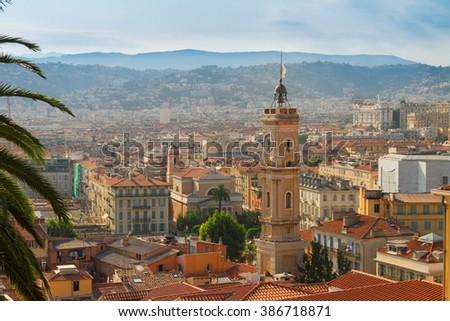 cityscape of Nice from above at sunny summer day, cote dAzur, France - stock photo