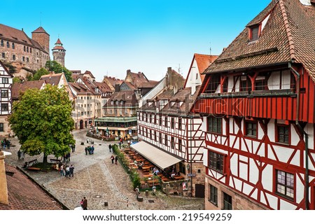 Cityscape of Nuremberg from city wall, Germany  - stock photo