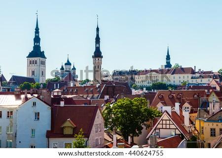 Cityscape of old town Tallinn at day, Estonia - stock photo