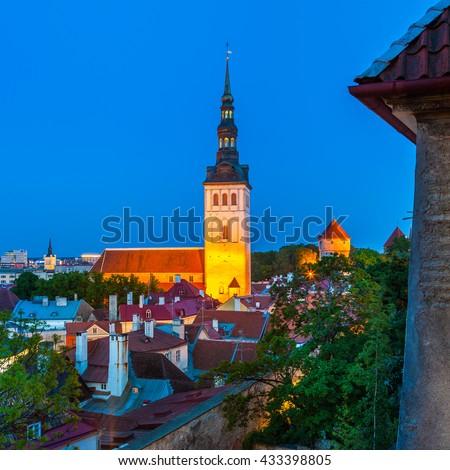 Cityscape of old town Tallinn at night, Estonia - stock photo