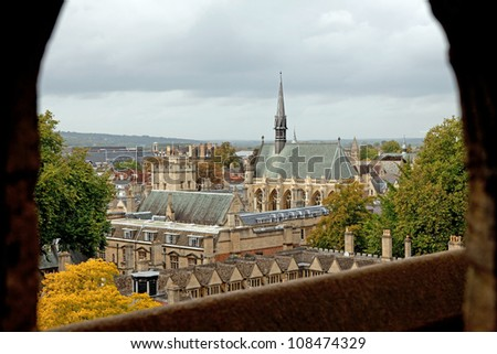Cityscape of Oxford, England - stock photo