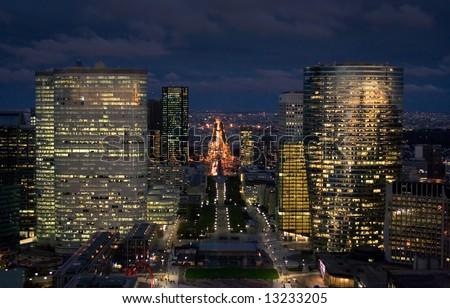 Cityscape of Paris at Night - stock photo
