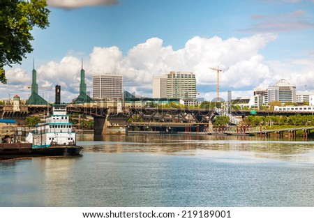 Cityscape of Portland, Oregon on a cloudy day - stock photo