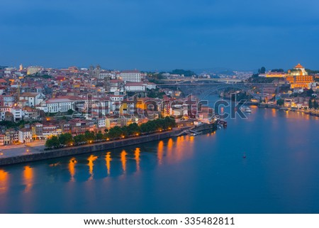 Cityscape of Porto at a spring night