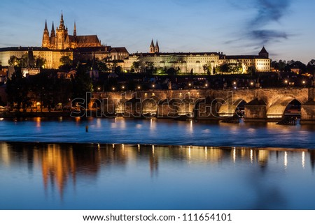 Cityscape of Prague with Castle and Charles Bridge at sunset, Czech Republic