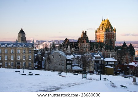 Cityscape of Quebec City showing its most famous landmark, Chateau Frontenac. Winter - stock photo