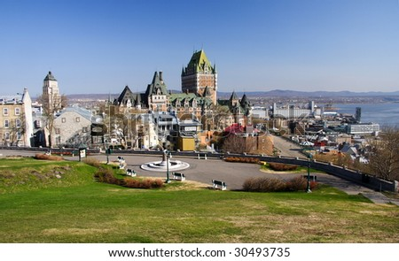 Cityscape of Quebec City with Chateau Frontenac. Spring. - stock photo