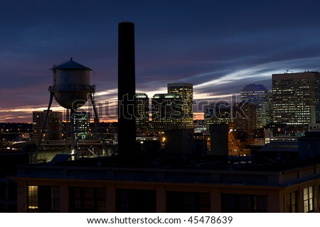 Cityscape of Richmond, Virginia at night during sunset.  Image taken from Church Hill. - stock photo