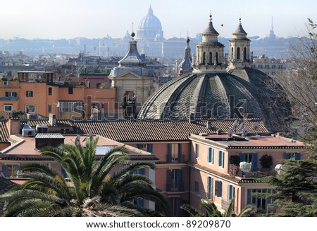 Cityscape of Rome, Italy with prominent churches on Popolo square.