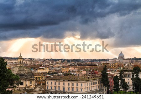 Cityscape of Rome under a dramatic sky as seen from the Pincio hill, Italy - stock photo