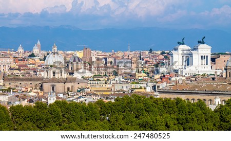 Cityscape of Rome, with the Altare della Patria, in Italy - stock photo