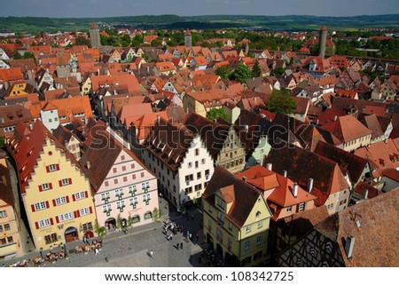 Cityscape of Rothenburg ob der Tauber - stock photo