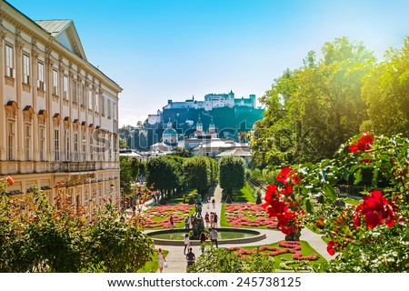 Cityscape of Salzburg from Mirabell Garden in the morning, Austria - stock photo