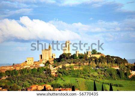 Cityscape of San Gimignano in Tuscany - stock photo