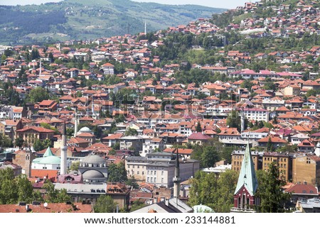 Cityscape of Sarajevo, Bosnia and Herzegovina - stock photo