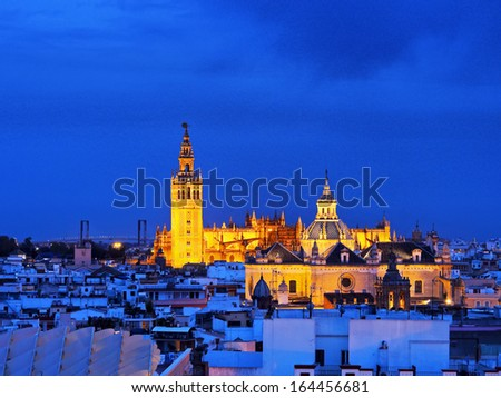 Cityscape of Seville with Santa Maria de la Sede Cathedral, Andalusia, Spain
