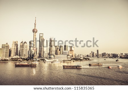 cityscape of shanghai - stock photo