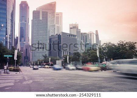 Cityscape of Singapore, no traffic on the road - stock photo