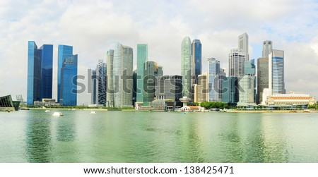 Cityscape of Singapore with reflection in the  river