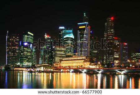 cityscape of skyscraper in Singapore business district - stock photo