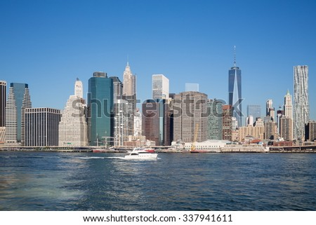 Cityscape of skyscrapers and mooring at the autumn day. - stock photo