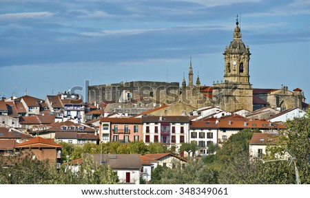 Cityscape of Spanish border town Hondarribia with fortifications of historical city center, Spanish Basque country, Province of Gipuzkoa, Spain
