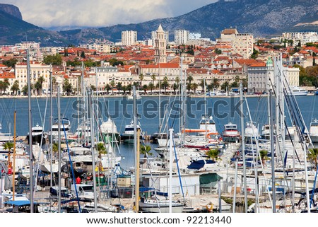 Cityscape of Split on the Adriatic Sea in Croatia, Dalmatia region, harbour in the foreground, Old Town in the background - stock photo