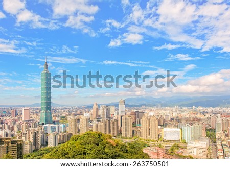 Cityscape of Taipei city under the blue sky - stock photo