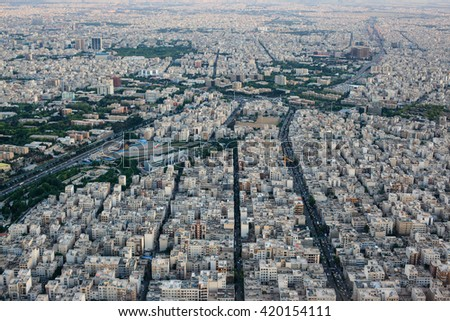 Cityscape of Tehran city from Milad tower, Tehran, Iran