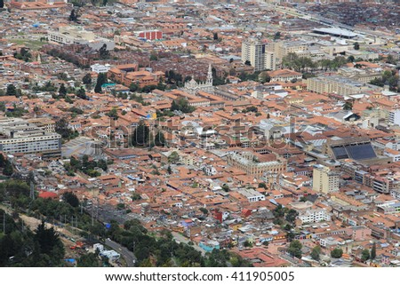 Cityscape of the city of Bogota Colombia, taken from the top of Cerro de Monserrate - stock photo
