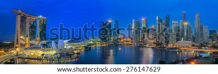 Cityscape of The Marina Bay Sand and Singapore City from roof top building - stock photo