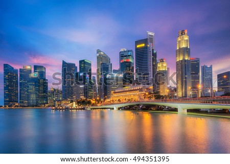 Cityscape of The Marina Bay Sand and Singapore City from roof top building