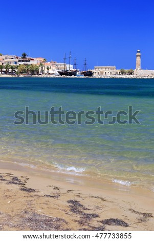 Cityscape of the old venetian harbor at morning, city of Rethymno, Crete, Greece