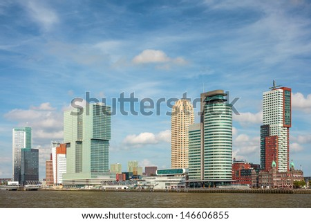 Cityscape of the south part of the Dutch city Rotterdam with large office towers